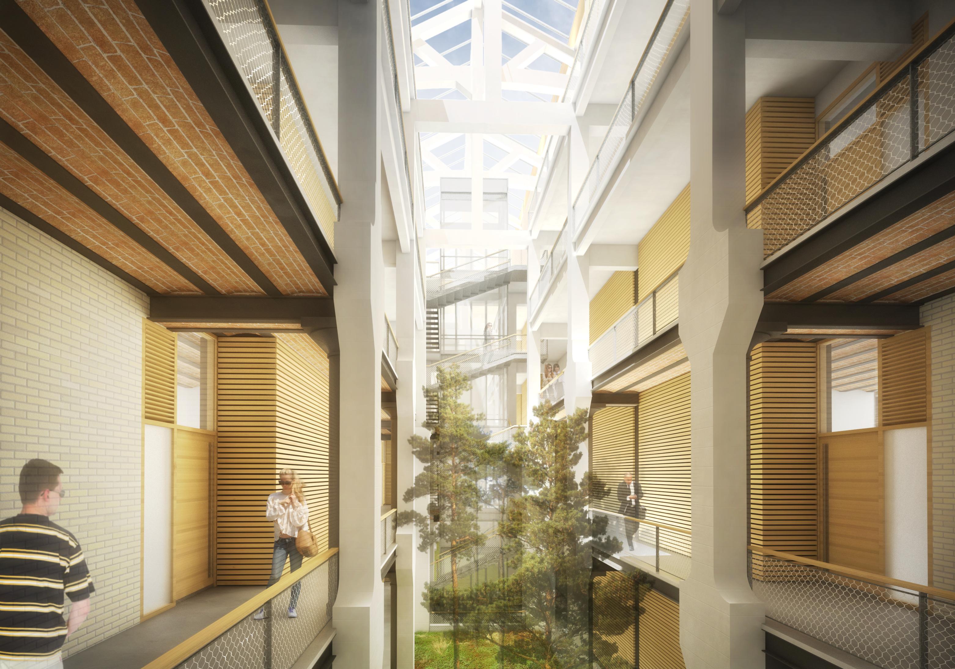 perspective, 3D, rendu, atrium, logement, verrière, pillers, 2016