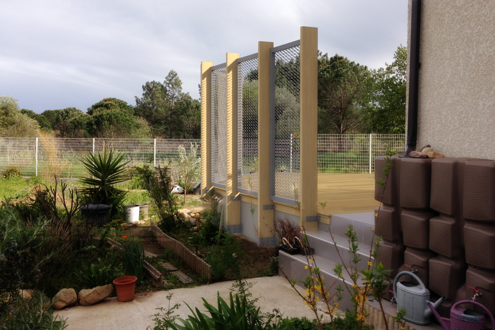 Perspective, 3D, terrasse, bois, métal déployé, jardin, méditerranée, 2016