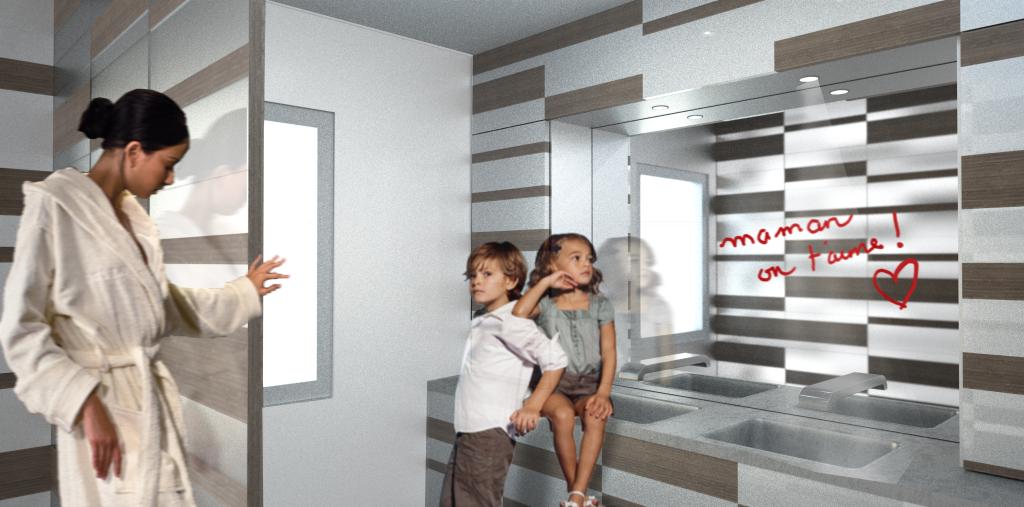 Perspective, 3D, salle de bain, intérieur, aménagement