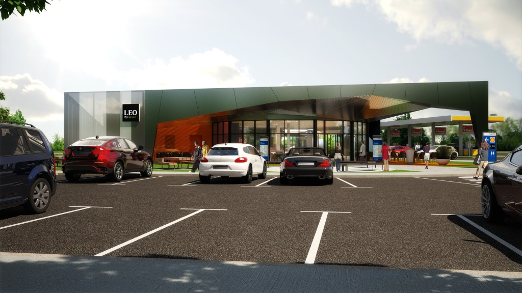 perspective, 3D, parking, aire de service, stationnement, véhicules, carburant, shell, 2015