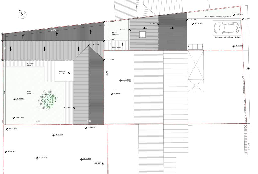 plan de toiture  de la maison et du garage