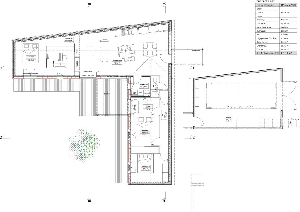 Plan d'aménagement du rez de chaussée et tableau des surfaces